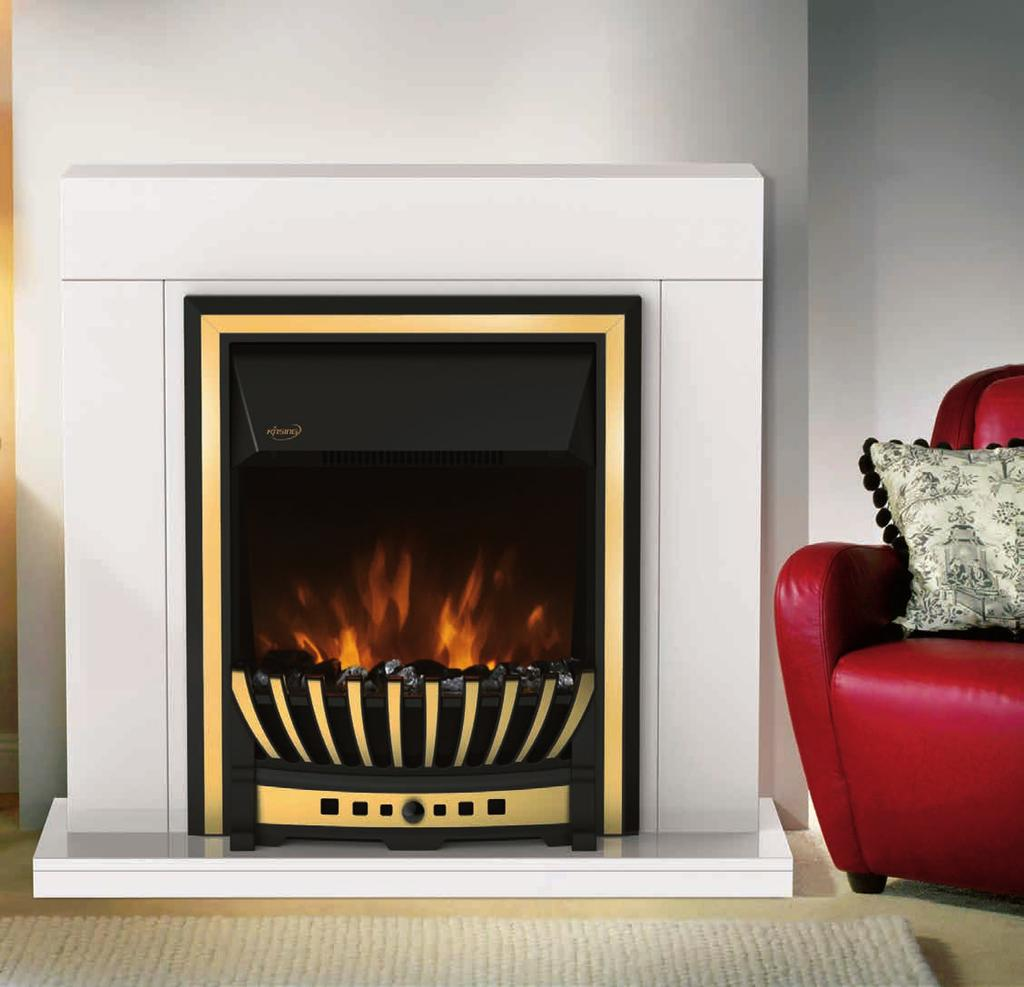 NDY-19FL-E Freestanding or inset style Real coals flame effect Patented Brass, chrome and