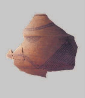 1 sherd decorated with bitumen Phase I; 2 clay lamp