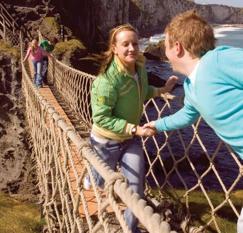 Fantastic bird-watching and unrivalled coastal scenery Exhilarating rope bridge experience his scary bridge crosses