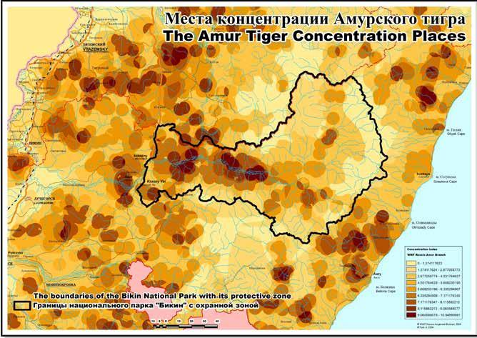 6c. Results of previous reporting exercises 6 MONITORING Fig. 13. The Amur tiger concentration places.