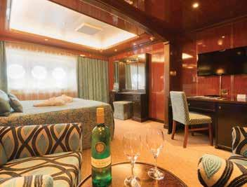 Your Suite Onboard there are 57 exceptionally spacious and well designed suites. The passenger accommodation is arranged over four decks and all suites have outside views.