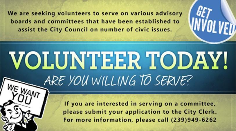 The City of Bonita Springs is seeking Volunteers to Serve on Various Advisory Boards and Committees The City of Bonita Springs is currently seeking applications from persons interested in