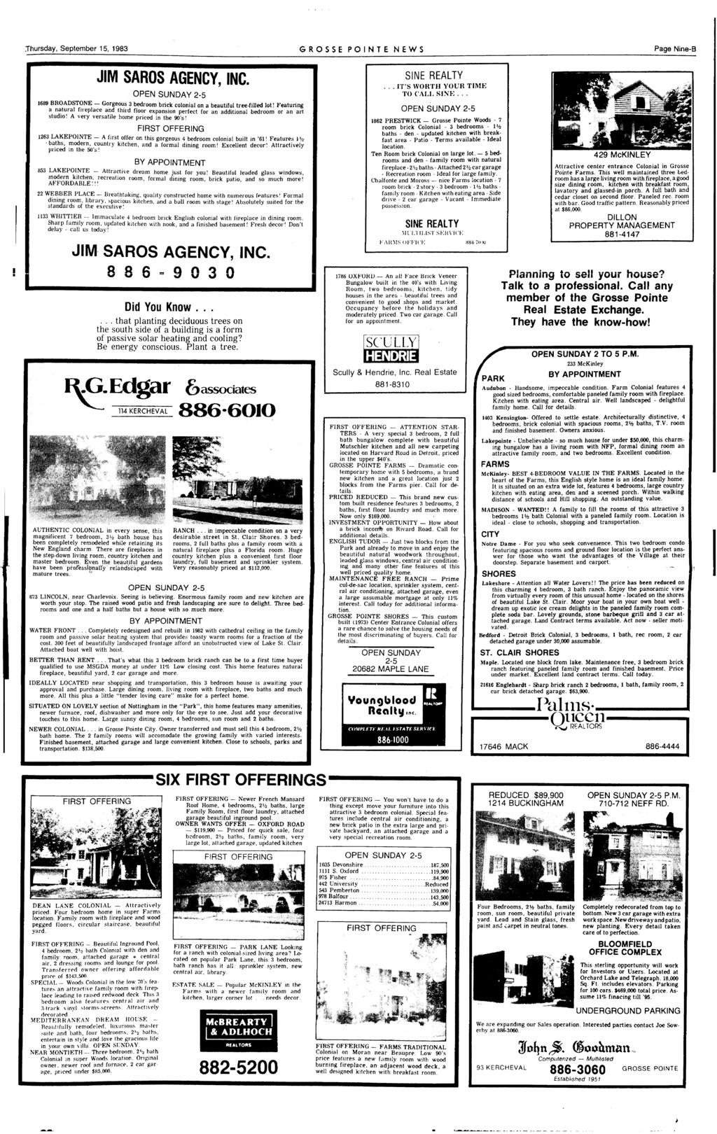 .Thursday, September 15, 1983 GROSSE PONTE NEWS Page Nlne-B JM SAROS AGENCY, NC.