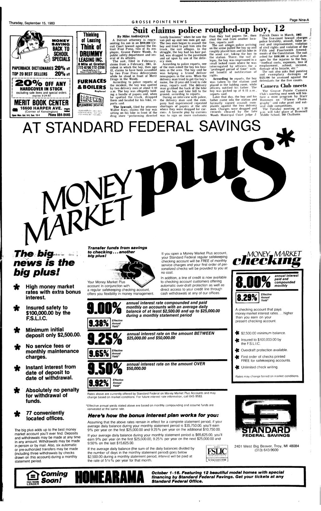 Thursday, September 15, 1983 MONEY SAVNG BACK TO SCHOOL SPECALS PAPERBACK DCTONARES 20% TOP 20 BEST SELLERS 20% off r------------------.