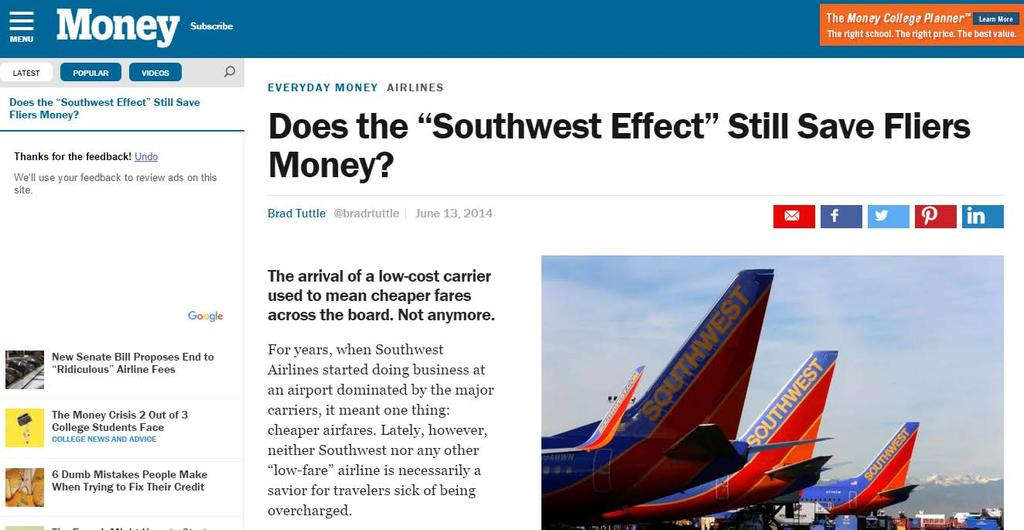 Southwest / Campbell-Hill Econometric Model provides little to no