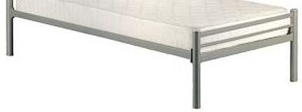 Metal bedstead with steel tubulars base for mattress support Provide with fire-proof mattress thickness approx 15 cm.
