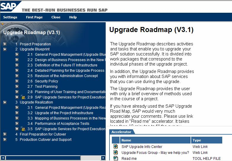 Upgrade Roadmap SAP Upgrade Roadmap vključuje za nadgradnjo specifične korake glede na standardno ASAP metodologijo implementacije Upgrade