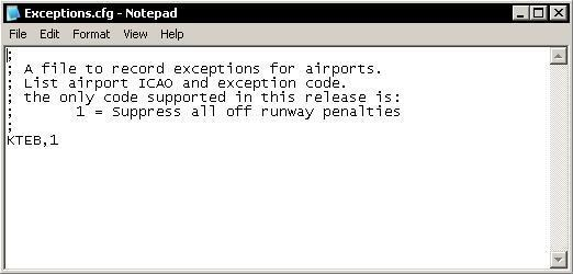 The Exceptions.cfg File The Exceptions file provides a way to fix certain problems with airport configurations.