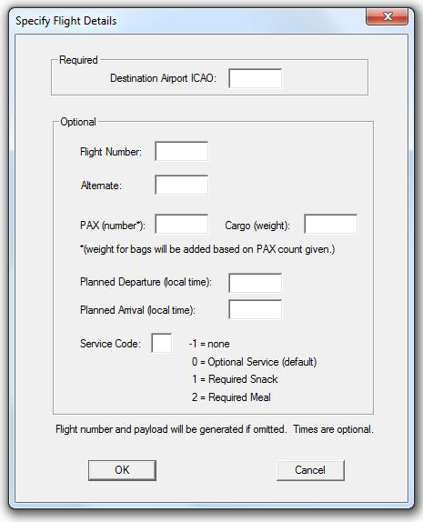 The selection list you see here is equivalent to the flights presented in the FCDU when you use the Select Mission option from Page ID 10 Preflight Menu and the same rules that apply there apply here