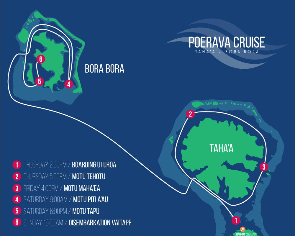 Taha a Bora Bora FROM THURSDAY TO SUNDAY FROM TAHA A / RAIATEA TO BORA BORA DAY 1 Boarding in Raiatea on Thursday at 2.00pm Cruising to the West coast of Taha a.