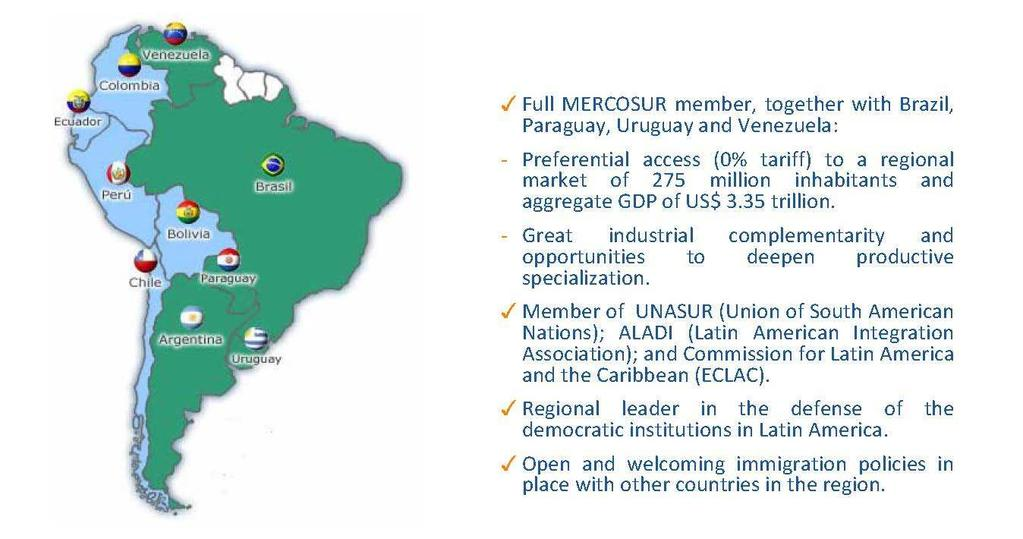 Strong Regional Ties MERCOSUR provides an additional