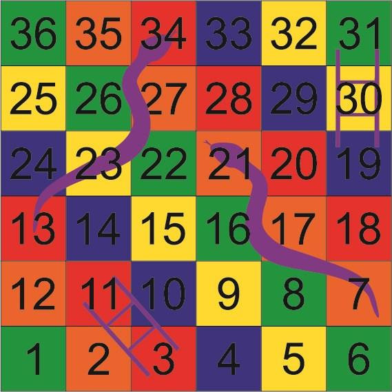 Size: 2500mm x 2500mm Solid Panels Snakes & Ladders 1-36 Size: 2400mm x