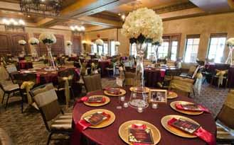 The Villa Grande Venue Details Ballroom is beautifully detailed with carpeted floors, stucco walls, rustic chandeliers, 12