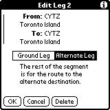 In addition to specifying a leg to be a part of an airway, legs can also be specified to be part of a SID (Standard Instrument Departure), a STAR (Standard Terminal Arrival), or an Approach.