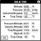 The Options menu also contains a Density Alt & True Airspeed item. Enter the altitude and pressure, and the pressure altitude is calculated.