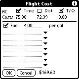 In the example, the possible ways of costing a flight in this aircraft are $40 per hour, and/or $5.75 per nautical mile, and/or $8 per takeoff.
