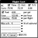 In the example, it is assumed that the engine is on for an additional 0.2 hours per flight, so this amount is added per takeoff.