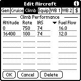 The third aircraft form (Climb) collects the data used to calculate climb performance and climb fuel consumption. Climb performance (time to climb, distance to climb, etc.