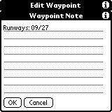 The Waypoint Note form is used to store data about the waypoint.
