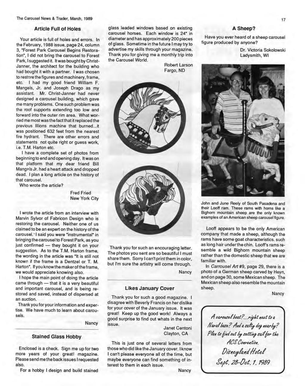 The Carousel News & Trader, March, 1989 Article Full of Holes Your article is full of holes and errors.