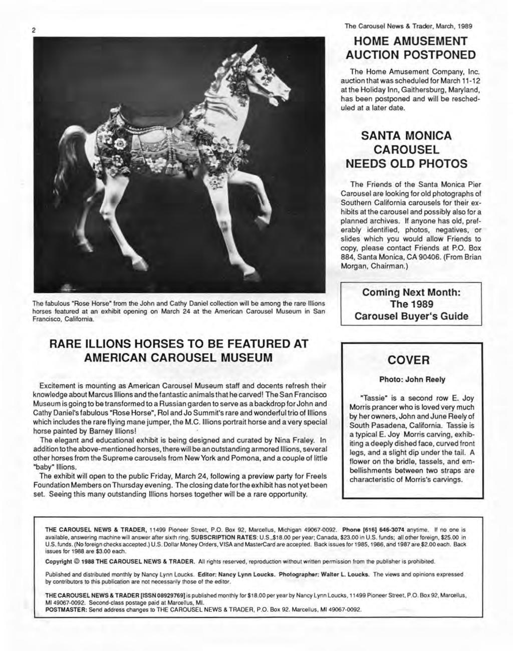 2 The Carousel News & Trader, March, 1989 HOME AMUSEMENT AUCTION POSTPONED The Home Amusement Company, Inc.