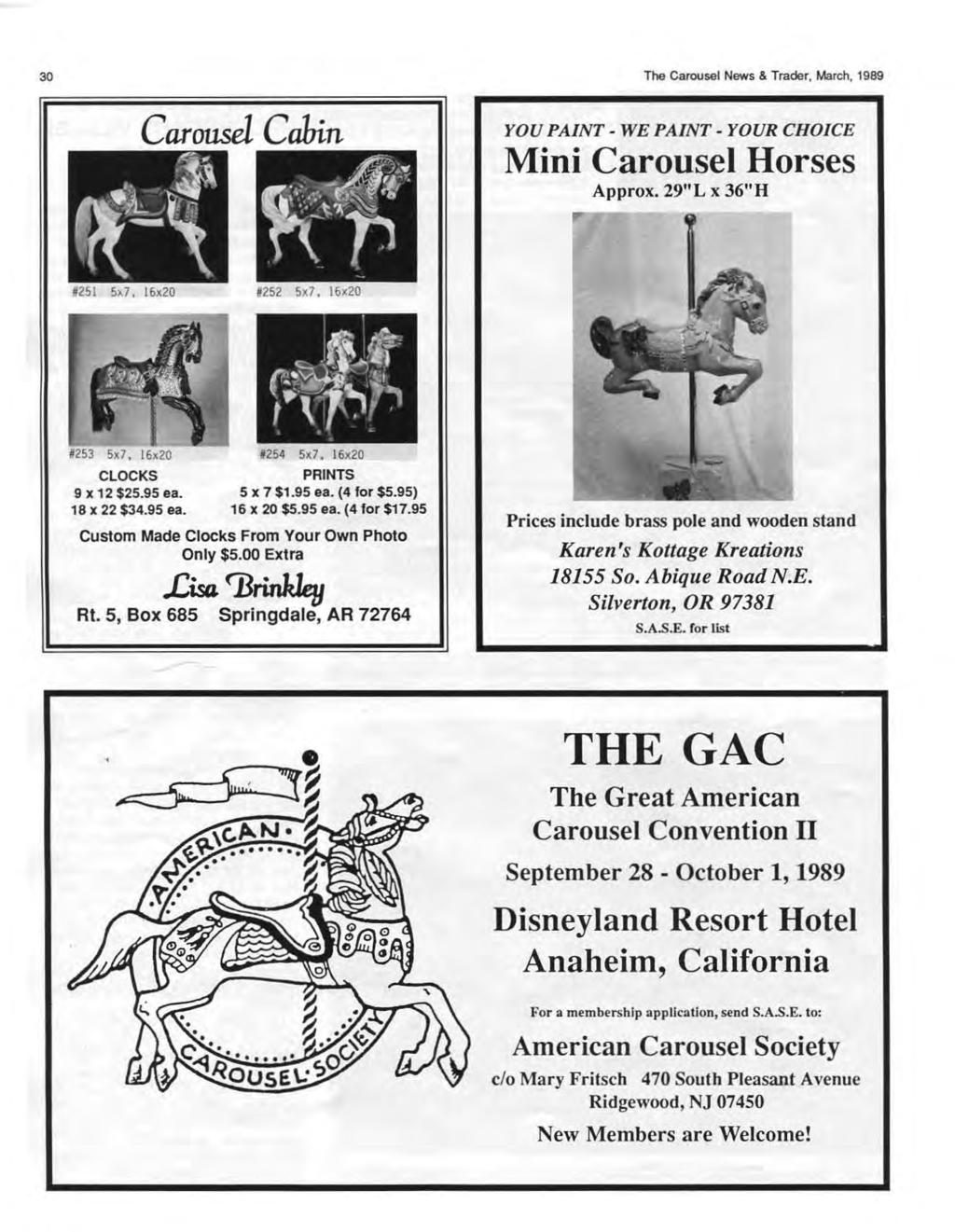 "30 Carousel Cabin The Carousel News & Trader, March, 1989 YOU PAINT- WE PAINT- YOUR CHOICE Mini Carousel Horses Approx. 29""L x 36""H 8251 5x7."
