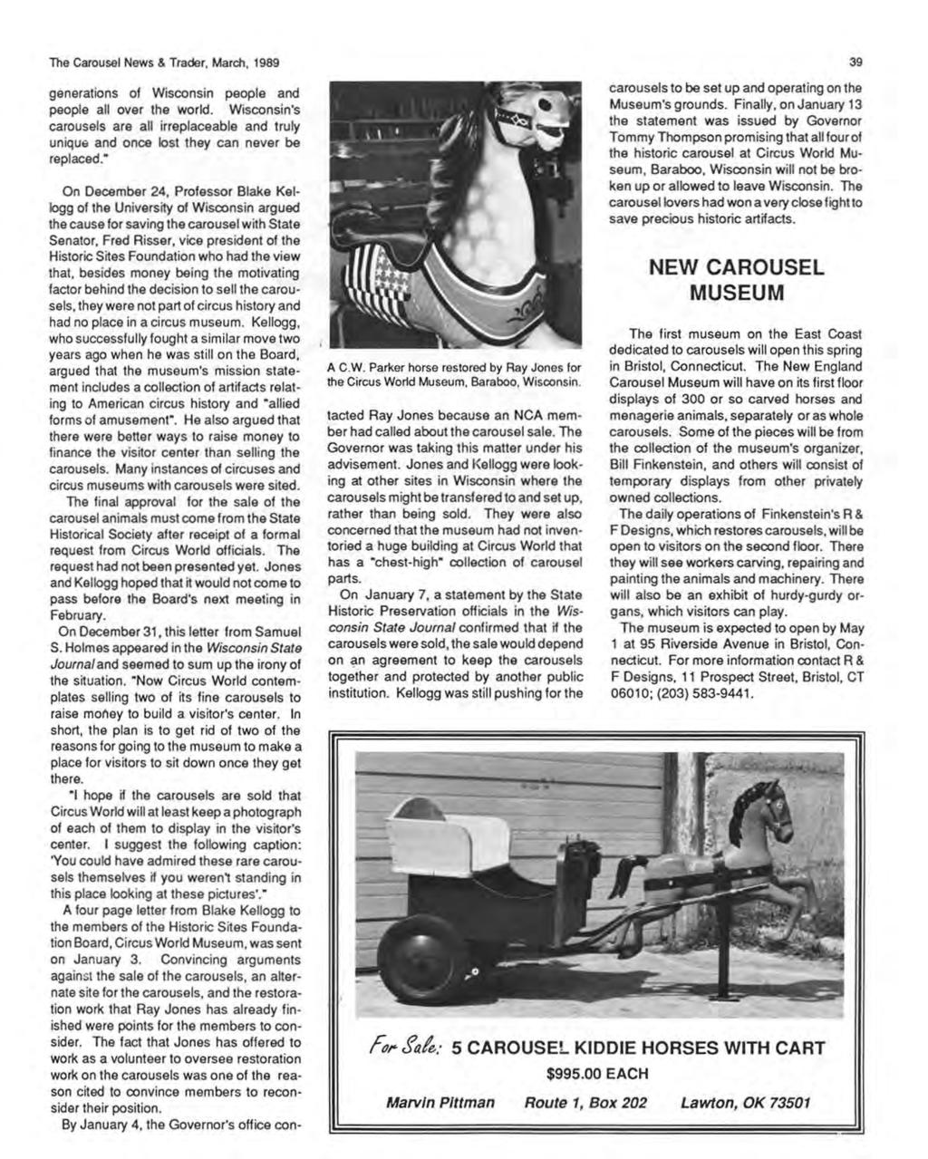 The Carousel News & Trader, March, 1989 generations of Wisconsin people and people all over the world.