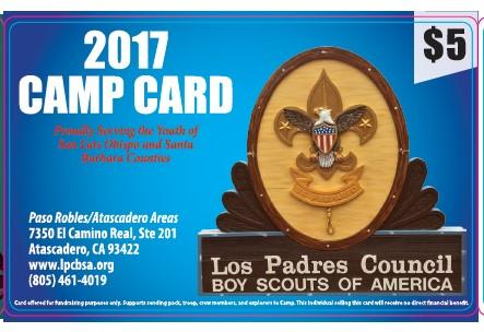 2017 Los Padres Council Boy Scouts of America Camp Card Leaders Guide.