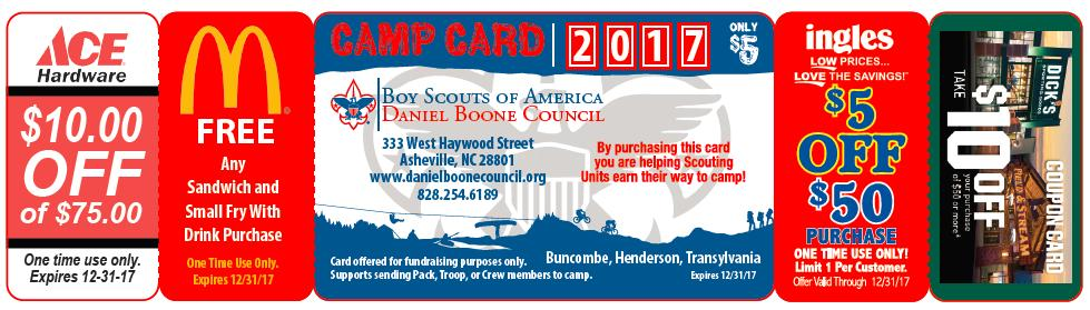 COMMUNITY PARTNERS VENDORS: McDonald s, Outdoor 76, Ingle s, Ace Hardware, Dick s Sporting Goods and Field & Stream have offered generous one-time discounts that make the sale of this card a