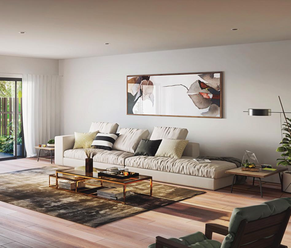 A sophisticated blend of Australian oak flooring and serene white walls are showcased in this stylish open plan area.
