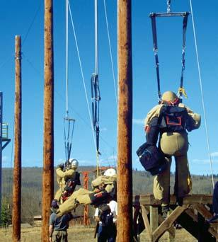 They don t want to be caught dangling from a branch when fire is nearby. During tower training, smokejumper recruits learn what it feels like to land with a parachute.