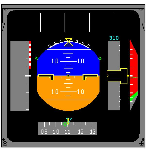 Example of EFIS with RAs displayed on the vertical speed