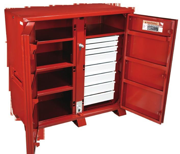 ON-SITE STORAGE Fully Welded Padlock Housing Six, 5/8 Steel Locking Pin Security Eight built-in door shelves.