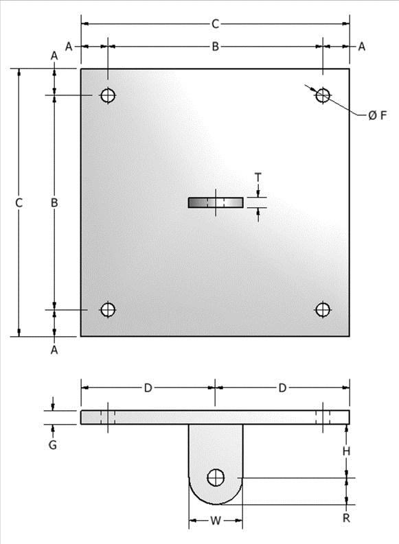 Page 37 713-849-3366 www.aaatech.com info@aaatech.com FIG. 533 CONCRETE ATTACHMENT PLATE W/ WELDING LUG APPLICATION: Concrete Single Lug Plates are used in conjunction with Fig.