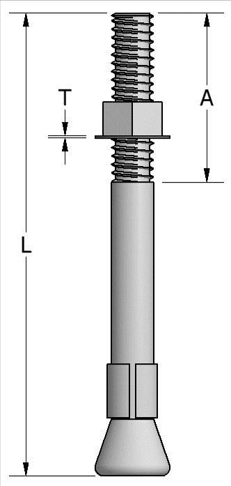 After the shell is installed, the chucking end is broken off flush with the surface by hitting the chuck laterally or by striking the shell with a hammer after the chuck is removed.