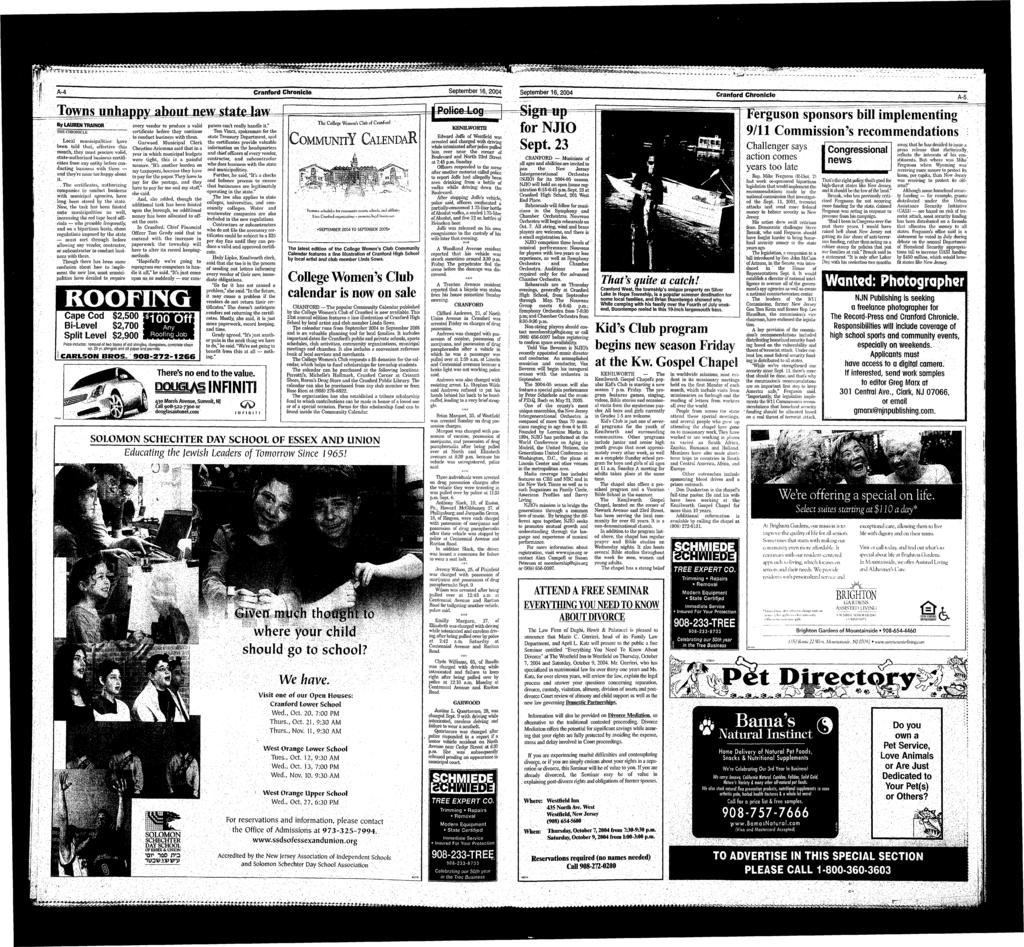 * * *. «*4 r ^f! V &.??? A-4 Cranford Chronicle September 6, 2004 September 6,2004 Towiisr By LAUREN TRANOR THE CHRONICLE --,!