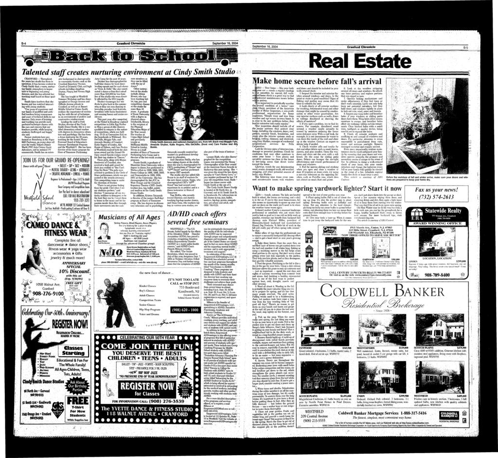 ^ B-4 Cranford Chronicle September 6,2004 i i * l.., - MaM i i-?wfrft... - - - - - i..,.. - -.... i A.......,.-,..-j«rr-.i..w f-tv.!*.~-.-?i.-.-~--.