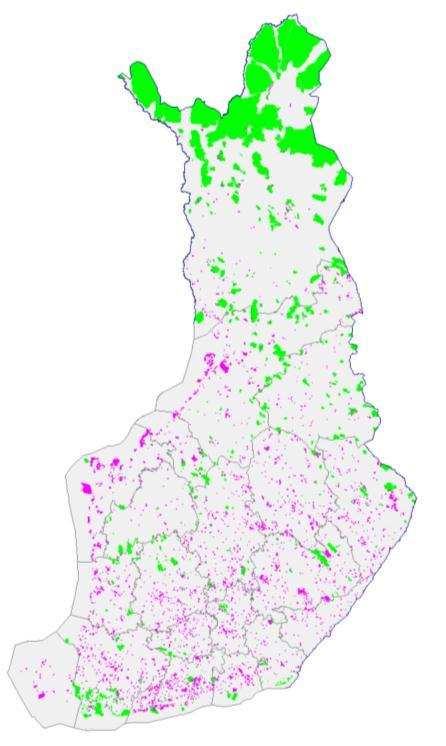 Protected areas in Finland Large PAs on state land in the north PAs on private land numerous but small, mostly in southern and central Finland 1700 pending nature reserves (total 766 500 ha) to be