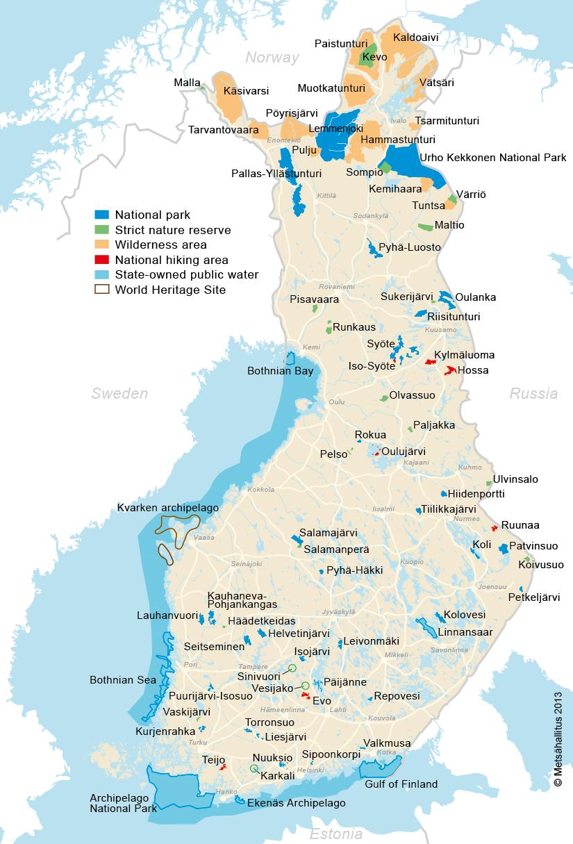 Protected areas managed by Metsähallitus NHS 37 national parks 19 strict nature