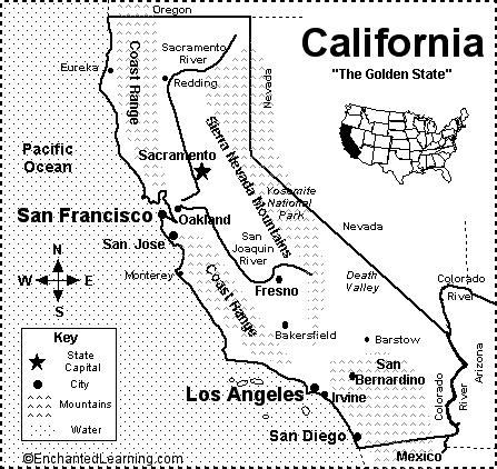 1. What is the capital of California? 2. What ocean borders California on the west? 3. Which country borders southern California? 4.