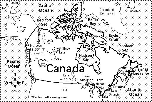 1. What ocean forms Canada s western border? 2. What ocean forms Canada s eastern border? 3. What ocean lies north of Canada? 4.
