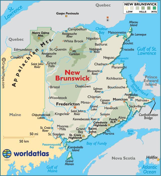 NEW BRUNSWICK 1. What is the capital of New Brunswick? 2. Name the river that flows north-south and creates the natural border with Maine. 3. What is the U.S. state located to the west of New Brunswick?