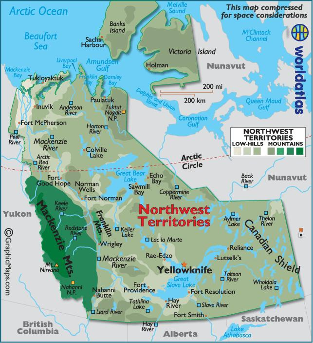 NORTHWEST TERRITORIES 1. What is the capital of the Northwest Territories? 2. Name the large mountain range on the southwestern corner of this province, to the east of Yukon. 3.