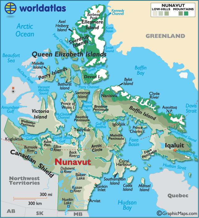 NUNAVUT 1. Name the capital of Nunavut, Canada s largest territory, which was created in 1999. 2. Name the large body of water that separates the northeast part of the territory from Greenland. 3.