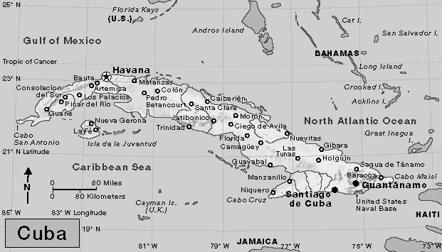 Caribbean maps from www.worldbookonline.com 1. What is the capital of Cuba? 2. What three large bodies of water surround this island country?,, and 3. What is the closest U.S. state to Cuba? 4.