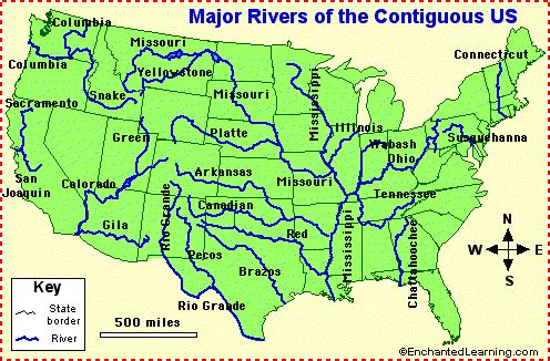 MAJOR RIVERS OF THE UNITED STATES Use the Reference Map on page 6 and the map below when answering these questions. 1.