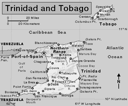 1. Name the South American country located to the west of Trinidad? 2. What is the capital of Trinidad-Tobago? 3.