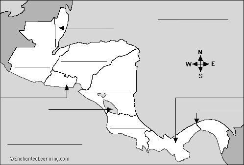Central America Using a map, label the seven Central American countries (listed below) and color each a