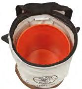 "Load Rated Heavy Duty Top Closing Buckets No. 1 canvas. 150 lbs. (68 kg) Top of bucket zips closed. 14"" diameter accommodates standard 5 gallon bucket."