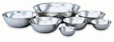 Kitchen Essentials Economy Stainless Steel Mixing Bowls Bright mirror-finished stainless steel Beaded edge Dishwasher safe Flat bottoms sit flat on